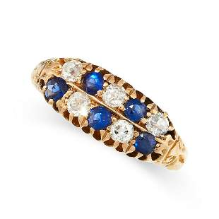 ANTIQUE SAPPHIRE AND DIAMOND RING, 1890S mounted in