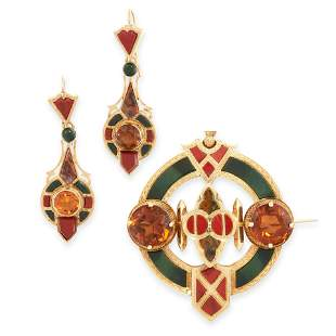 ANTIQUE SCOTTISH HARDSTONE AND CITRINE DEMI-PARURE,