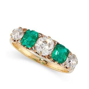 ANTIQUE EMERALD AND DIAMOND RING, LATE 19TH CENTURY