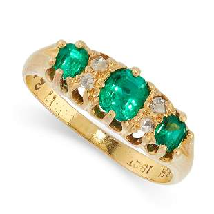 ANTIQUE EMERALD AND DIAMOND RING, EARLY 20TH CENTURY