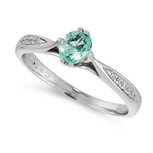 EMERALD AND DIAMOND RING 18ct white gold, set with an