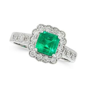 COLOMBIAN MINOR OIL EMERALD AND DIAMOND RING in 18ct