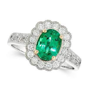 UNTREATED EMERALD AND DIAMOND RING in 18ct white and