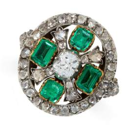 ANTIQUE EMERALD AND DIAMOND RING mounted in yellow gold