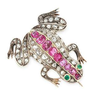 AN ANTIQUE RUBY, DIAMOND AND EMERALD FROG BROOCH in