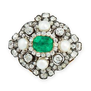 AN ANTIQUE EMERALD, PEARL AND DIAMOND BROOCH / PENDANT,