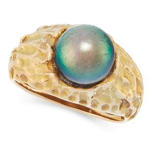 A PEARL RING set with a black pearl of 10.3mm in an