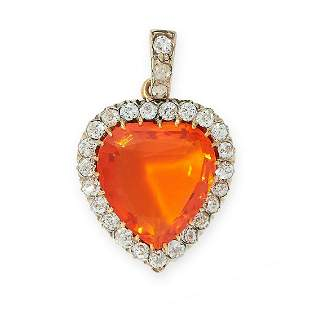 ANTIQUE FIRE OPAL AND DIAMOND PENDANT in yellow gold