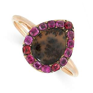 ANTIQUE RUBY AND DENDRITIC AGATE RING, EARLY 19TH
