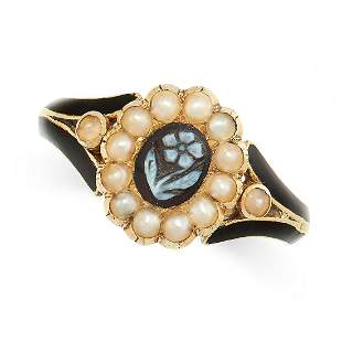 ANTIQUE AGATE, PEARL AND ENAMEL MOURNING RING, CIRCA
