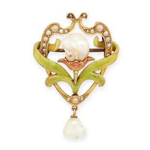 ANTIQUE PEARL AND ENAMEL BROOCH in yellow gold, the