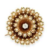 ANTIQUE PEARL AND DIAMOND BROOCH / PENDANT in yellow
