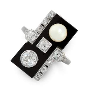 DIAMOND, PEARL AND ONYX DRESS RING in 18ct white gold,