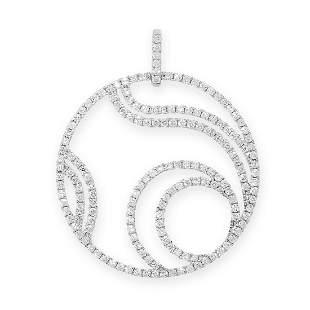 DIAMOND PENDANT in 18ct white gold, the openwork body