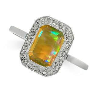 OPAL AND DIAMOND RING set with a step cut opal in a