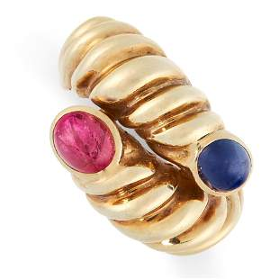 VINTAGE RUBY AND SAPPHIRE RING formed of an overlapping
