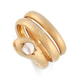 ANTIQUE MOONSTONE SNAKE RING in yellow gold, in the