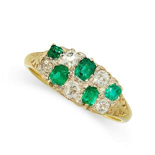 AN ANTIQUE EMERALD AND DIAMOND RING in 18ct yellow