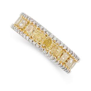 A YELLOW AND WHITE DIAMOND RING in 18ct white gold, set