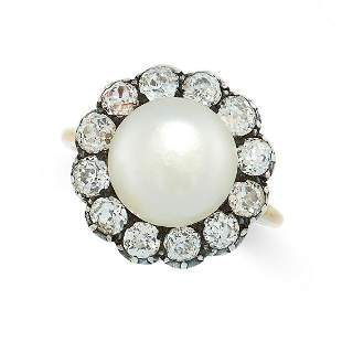 AN ANTIQUE NATURAL PEARL AND DIAMOND RING in 18ct