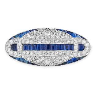 AN ART DECO SAPPHIRE AND DIAMOND BROOCH, 1930s in