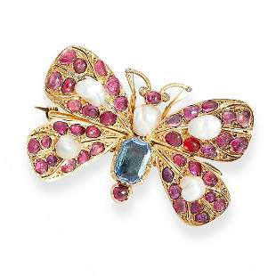 AN AQUAMARINE, PEARL, DIAMOND AND RUBY BUTTERFLY BROOCH