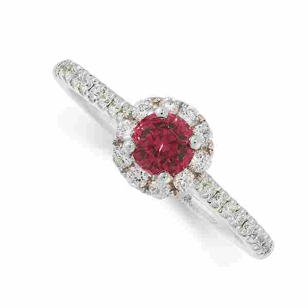 A PINK SPINEL AND DIAMOND RING in 18ct white gold, set