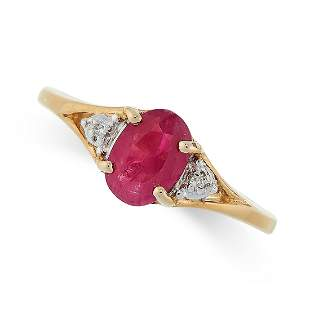 A RUBY AND DIAMOND RING in 9ct yellow gold, set with an