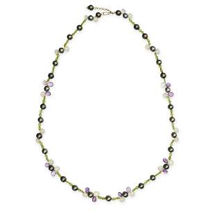 A BLACK PEARL, AMETHYST, PERIDOT AND CHALCEDONY