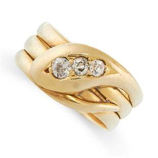 A DIAMOND SNAKE RING, 1924 in 18ct yellow gold,