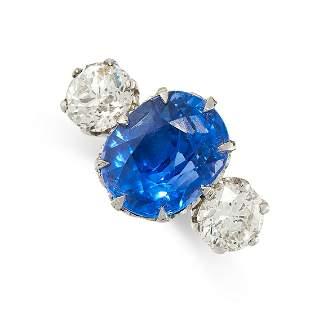 A CEYLON NO HEAT SAPPHIRE AND DIAMOND RING in 18ct