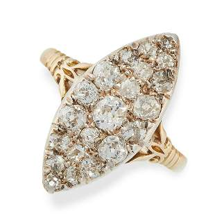 A DIAMOND RING in 18ct yellow gold, the navette face