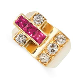 A RETRO DIAMOND AND RUBY RING in 18ct yellow gold, set