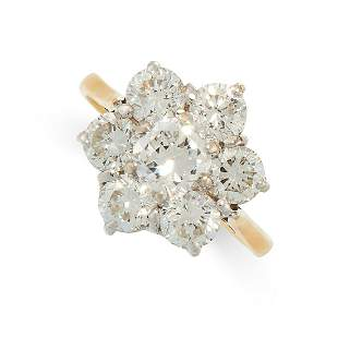A DIAMOND CLUSTER RING in 18ct yellow gold, set with a
