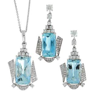 AN AQUAMARINE AND DIAMOND PENDANT AND EARRINGS SUITE in