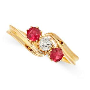 AN ANTIQUE DIAMOND AND RUBY RING, CIRCA 1900 in 18ct