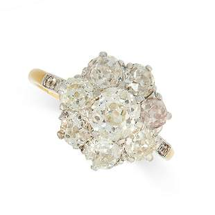 AN ANTIQUE DIAMOND CLUSTER RING, EARLY 20TH CENTURY in