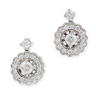 A PAIR OF DIAMOND EARRINGS in 18ct white gold, each set