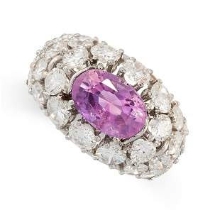 A CEYLON NO HEAT PINK SAPPHIRE AND DIAMOND RING in