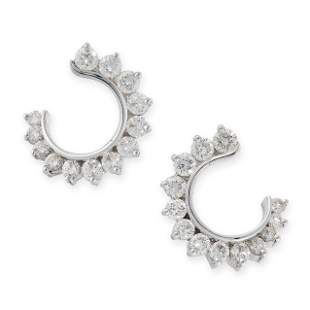 A PAIR OF DIAMOND EARRINGS in 18ct white gold, each