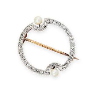 AN ANTIQUE DIAMOND AND PEARL BROOCH, EARLY 20TH CENTURY