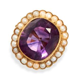 AN ANTIQUE AMETHYST AND PEARL RING, 19TH CENTURY AND