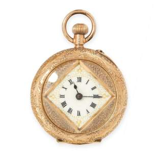 AN ANTIQUE ENAMEL POCKET / FOB WATCH in 14ct yellow