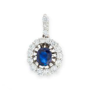 A SAPPHIRE AND DIAMOND PENDANT in 18ct white gold, set