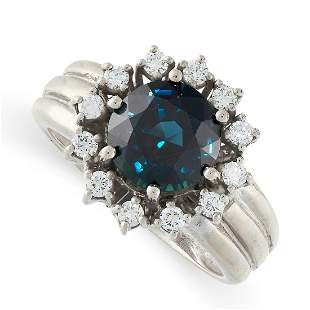 A SAPPHIRE AND DIAMOND RING in 18ct white gold, in