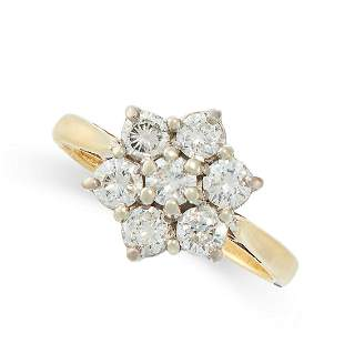 A DIAMOND RING in 18ct yellow gold, in cluster design,