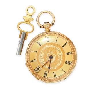 AN ANTIQUE POCKET WATCH AND KEY, BAUME GENEVE, 1844 in