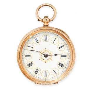 AN ANTIQUE LADIES POCKET WATCH AND WATCH KEY, LAFIDELE