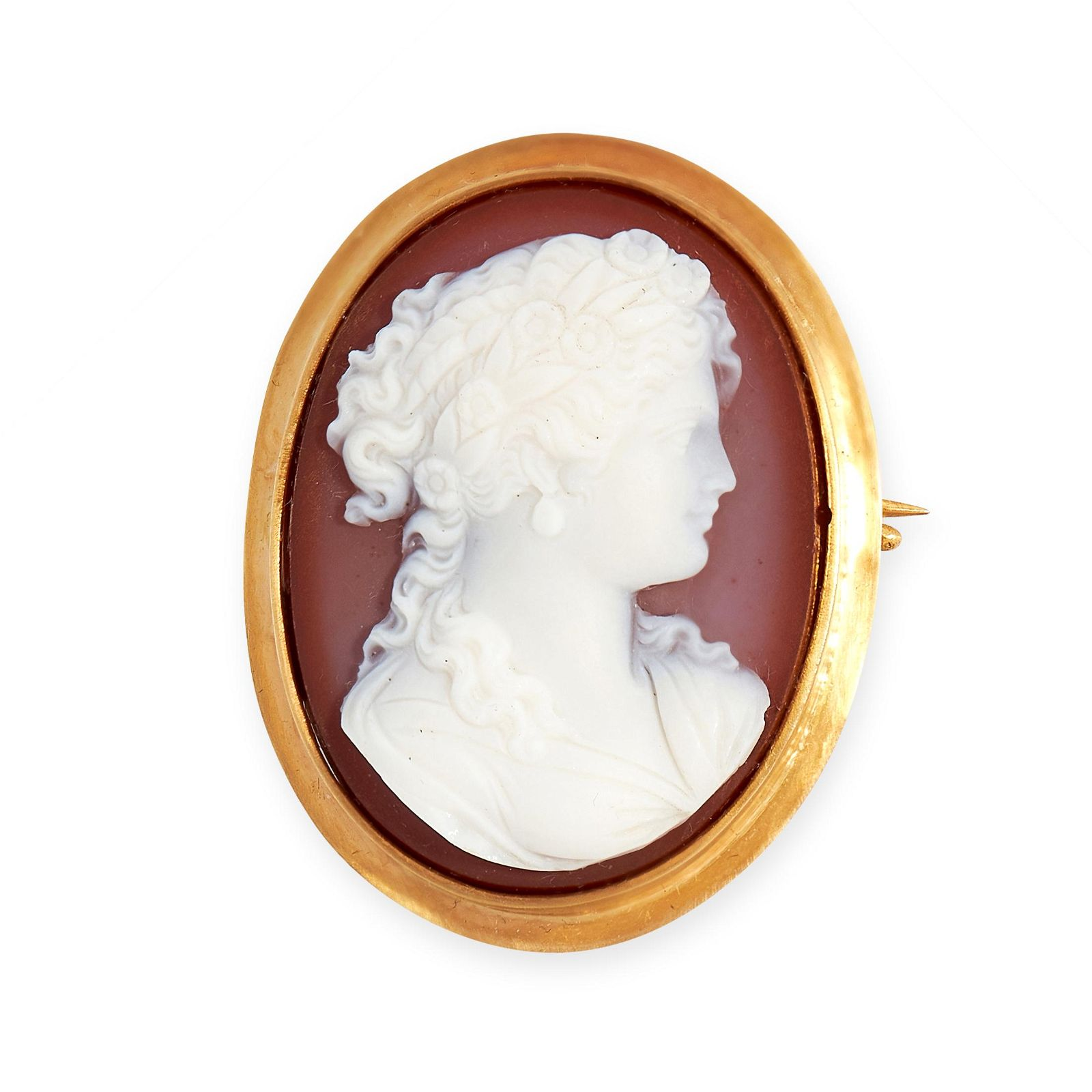 AN ANTIQUE HARDSTONE CAMEO BROOCH, LATE 19TH CENTURY in