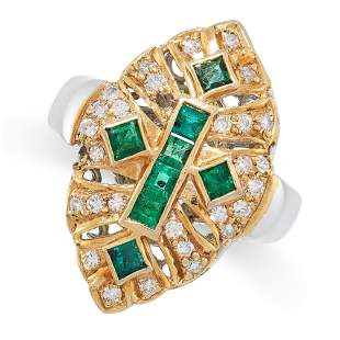AN EMERALD AND DIAMOND RING in 18ct white gold and